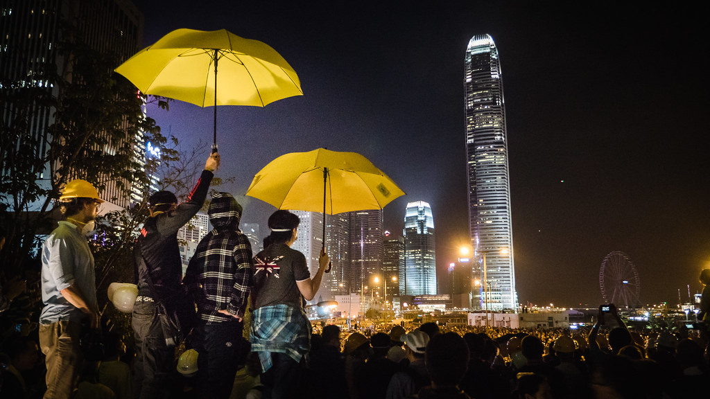 Umbrellas are shown as protesters rally together in Hong Kong.